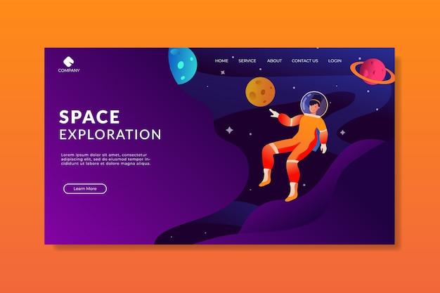 Page d'atterrissage de lady astronaut exploration