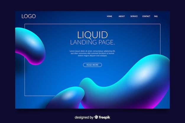 Page d'atterrissage liquide avec des lumières colorées