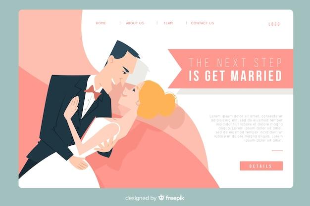 Page d'atterrissage de mariage avec couple