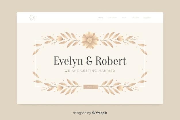 Page d'atterrissage de mariage élégant avec des feuilles