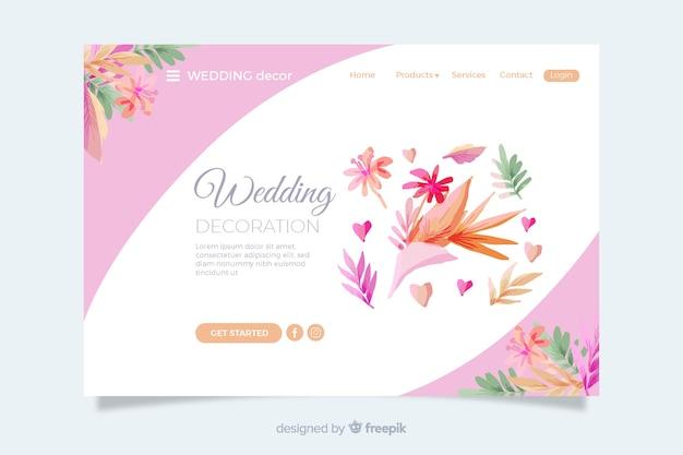 Page d'atterrissage de mariage avec des feuilles colorées