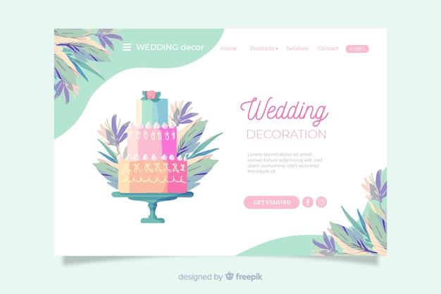 Page d'atterrissage de mariage avec un gâteau coloré