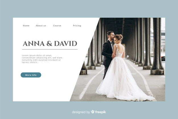 Page d'atterrissage de mariage avec photo et couleur pastel