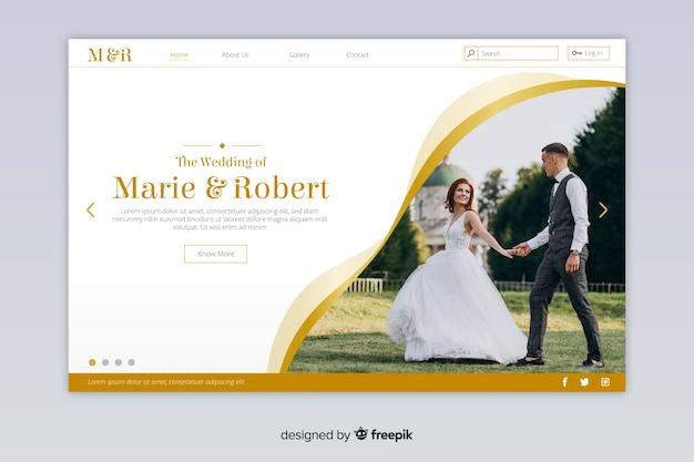 Page d'atterrissage de mariage avec photo