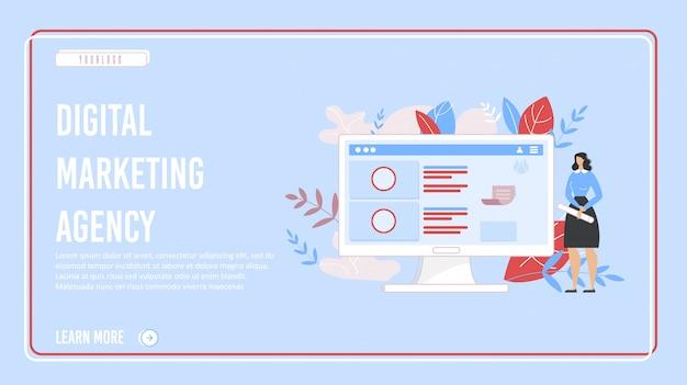 Page d'atterrissage de marketing d'agence numérique efficace