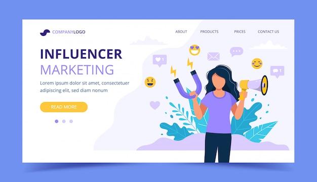 Page d'atterrissage marketing d'influence avec une femme tenant un mégaphone et un aimant