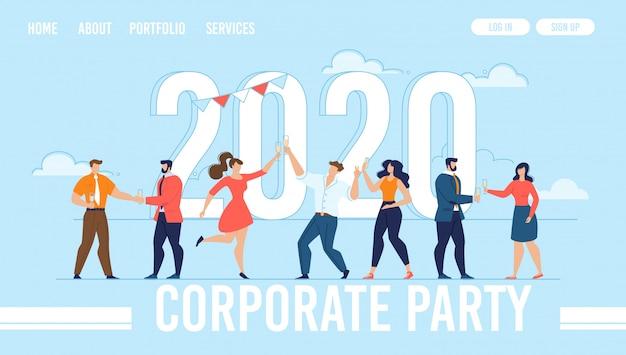 Page d'atterrissage de l'organisation du parti du nouvel an d'entreprise