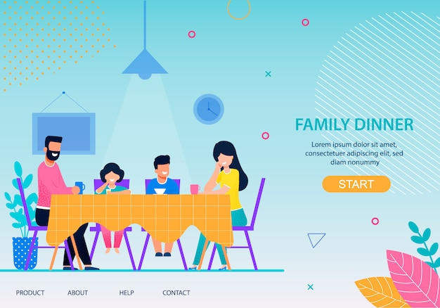 Page d'atterrissage à plat de happy family dinner