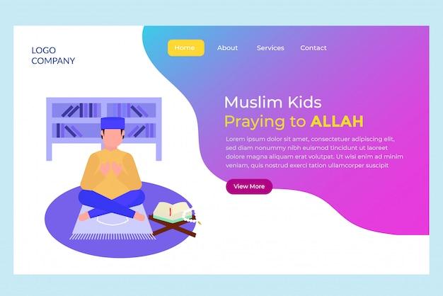 Page d'atterrissage priant muuslim