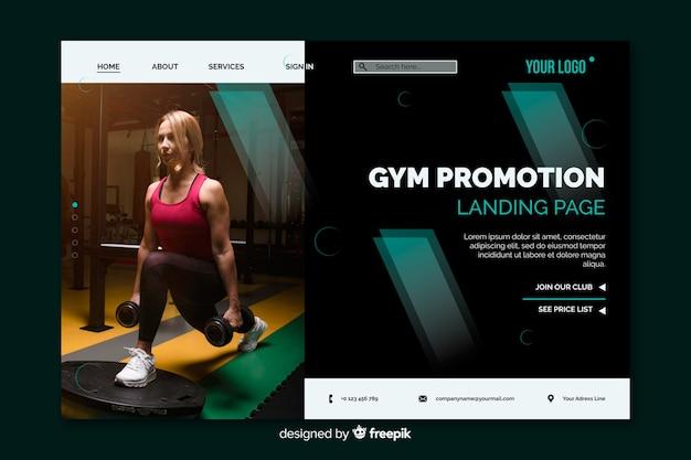 Page d'atterrissage de promotion de gymnase avec photo
