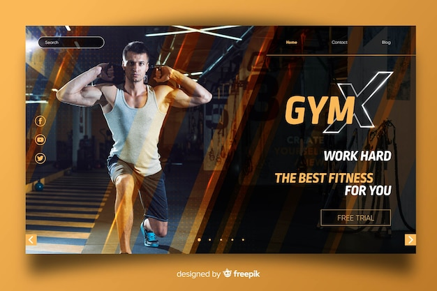 Page d'atterrissage de promotion de gymnase avec photo