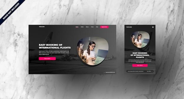 Page d'atterrissage de réservation de vol avec un design réactif mobile