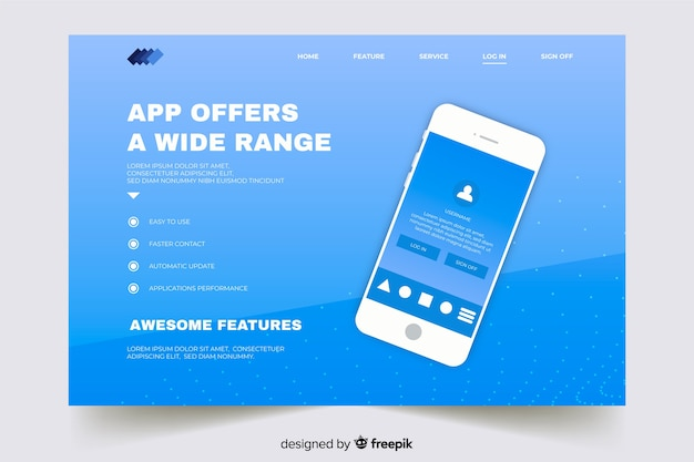 Page d'atterrissage avec smartphone sur les dégradés de bleu