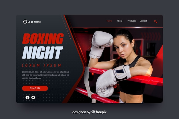 Page d'atterrissage de sport de nuit de boxe