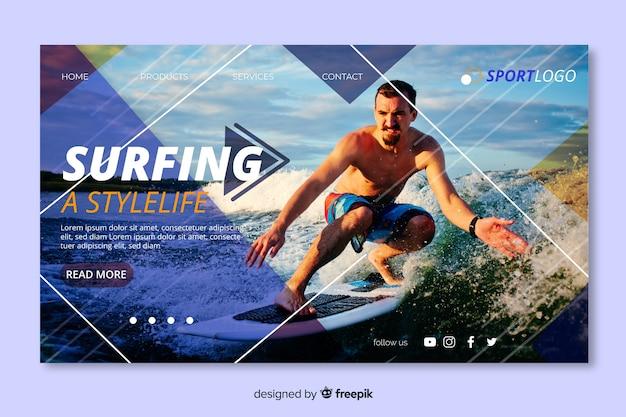 Page d'atterrissage de sport de surf
