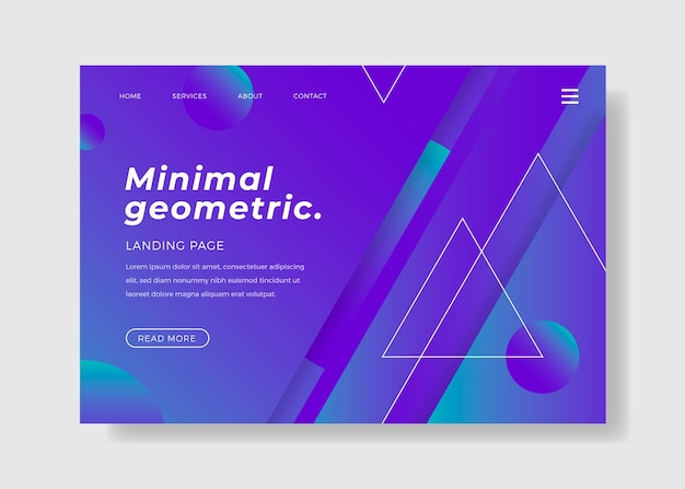 Page d'atterrissage avec un style géométrique minimal