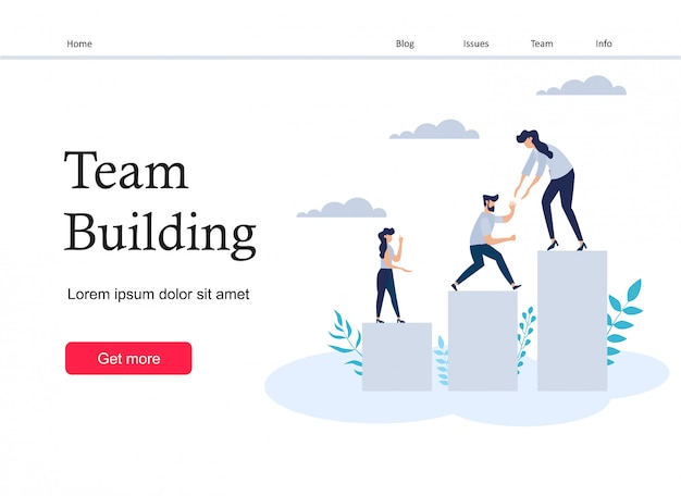 Page d'atterrissage de team building