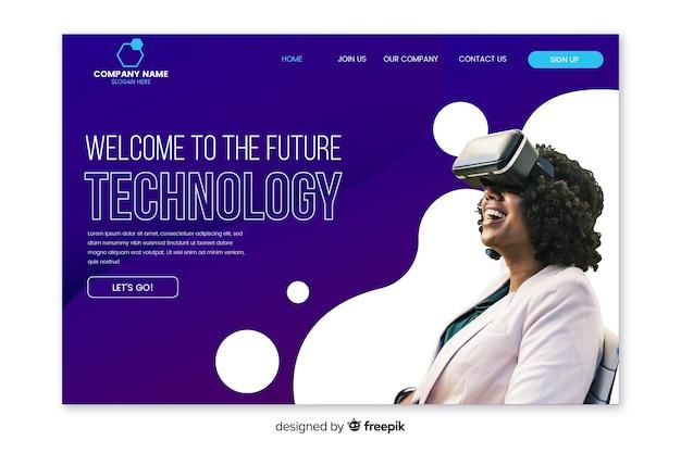 Page d'atterrissage de technologie avec photo