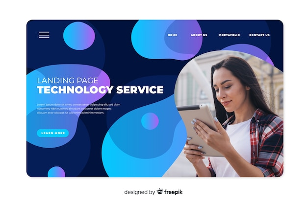 Page d'atterrissage de la technologie avec photo