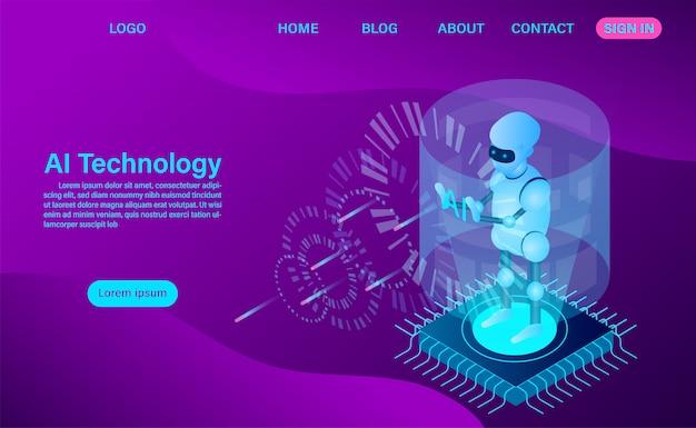 Page d'atterrissage de la technologie des robots à intelligence artificielle
