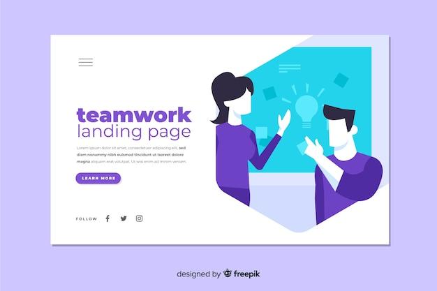Page d'atterrissage de travail d'équipe avec des collègues discutant