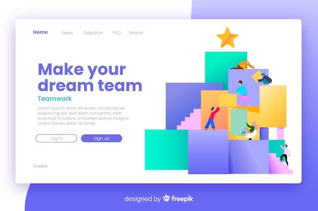 Page d'atterrissage de travail d'équipe avec un design plat