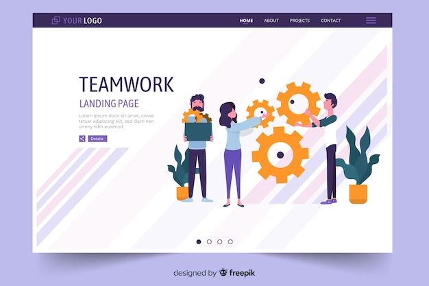 Page d'atterrissage de travail d'équipe avec des lignes pâles violettes