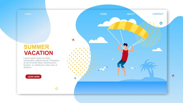 Page d'atterrissage de vacances d'été avec texte publicitaire.