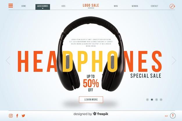 Page d'atterrissage de vente d'écouteurs avec photo