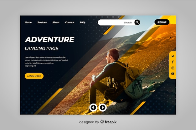 Page d'atterrissage de voyage d'aventure avec photo