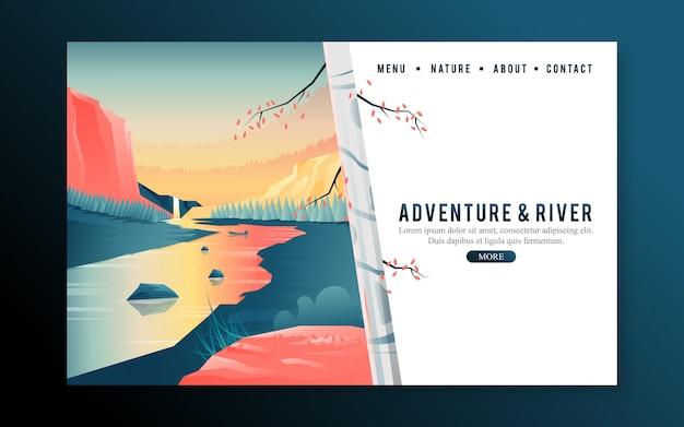 Page d'atterrissage web avec bouleau et coucher de soleil sur la rivière