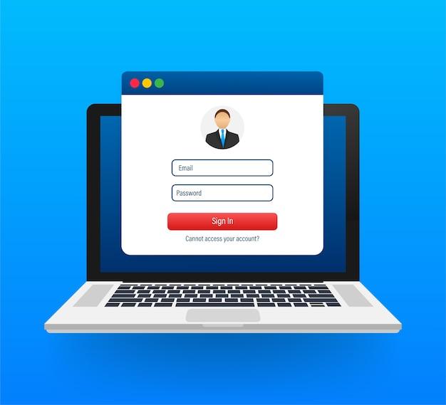 Page d'authentification sur ordinateur portable