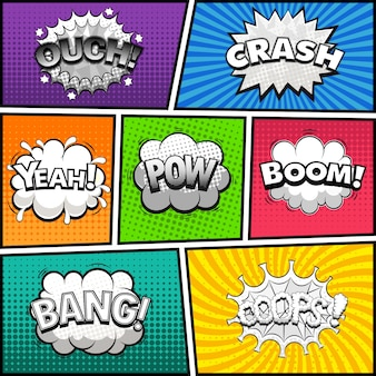 Page de bande dessinée divisée par des lignes avec des bulles noires et blanches, effet de sons. fond rétro. illustration comique