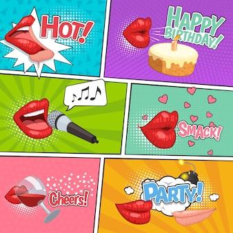 Page de bande dessinée de fête de lèvres sertie de compositions colorées indésirables