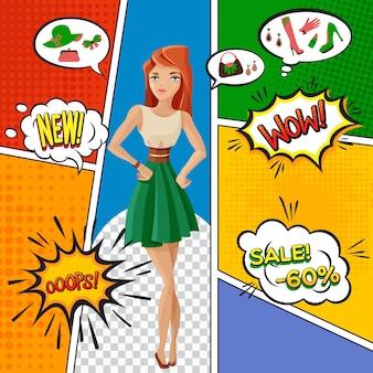 Page de bande dessinée avec jolie femme, vente de produits féminins, expression d'émotions dans des bulles