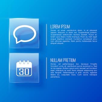 Page bleue en présentation commerciale avec deux paragraphes importants et deux icônes
