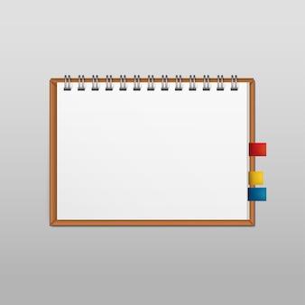 Page de bloc-notes de bloc-notes de papier blanc blanc vecteur isolé sur