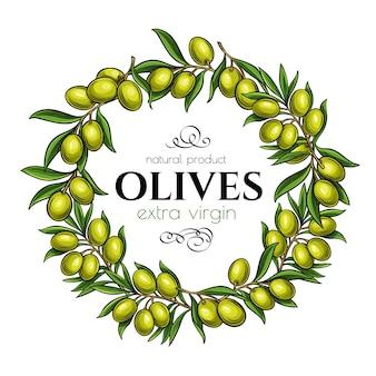 Page cadre avec des branches d'olives