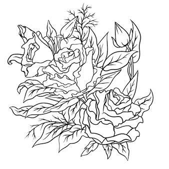 Page de cahier de coloriage avec des fleurs