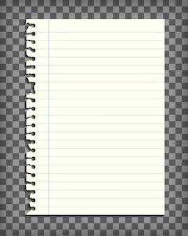 Page de carnet de notes ligné blanc avec bord déchiré