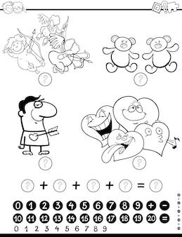 Page de coloriage d'activité mathématique