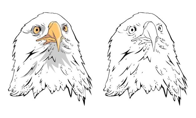 Page de coloriage aigle dessiné à la main pour enfant