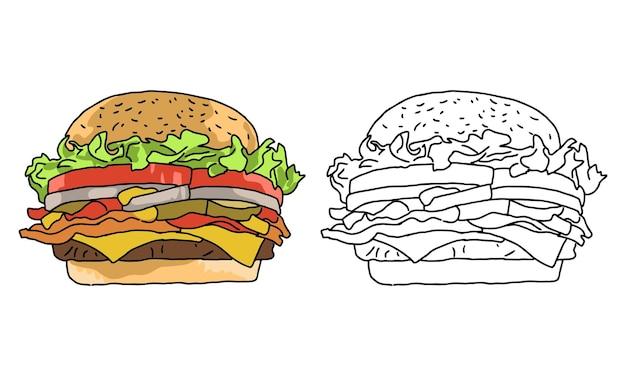 Page de coloriage burger dessiné à la main pour enfant