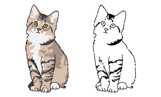 Page de coloriage chat dessiné à la main pour enfant