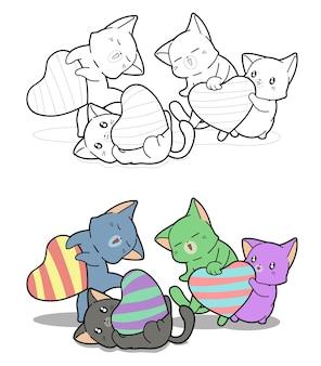 Page de coloriage de dessin animé de bonbons en forme de coeur de chats mignons pour les enfants