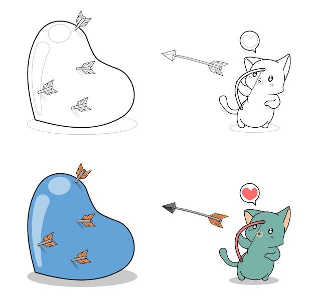 Page de coloriage de dessin animé de chat archer pour les enfants
