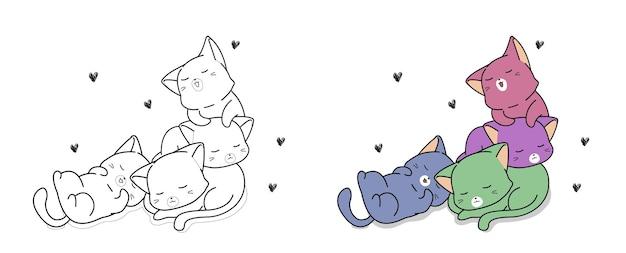Page de coloriage de dessin animé de chats colorés kawaii pour les enfants