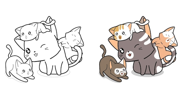 Page de coloriage de dessin animé de chats de famille pour les enfants
