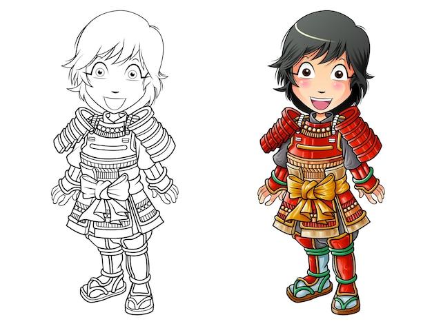 Page de coloriage de dessin animé de guerrier samouraï pour les enfants