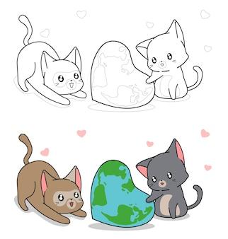 Page de coloriage de dessin animé mignon chat et carte du monde en forme de coeur pour les enfants